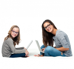 child and  teen wearing eyeglasses sitting with laptops